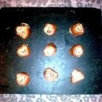 rollitos de salmón, queso y langostinos