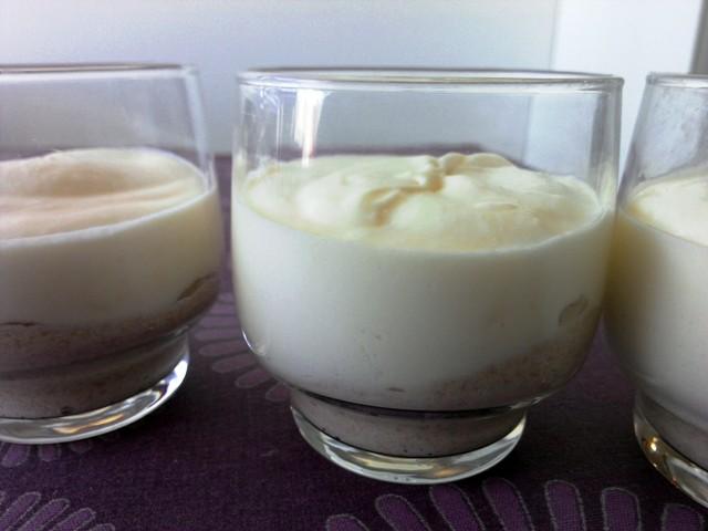 crema de choco blanco y mousse de castañas
